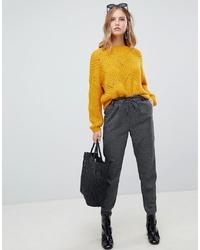 Pantalon carotte à carreaux gris foncé Only