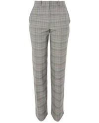 Pantalon carotte à carreaux gris