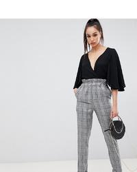 Pantalon carotte à carreaux gris Missguided Tall