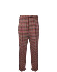 Pantalon carotte à carreaux marron Brag-Wette