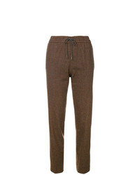 Pantalon carotte à carreaux marron Fabiana Filippi