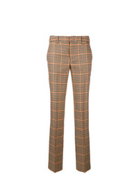Pantalon carotte à carreaux marron Pt01