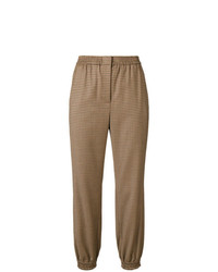 Pantalon carotte à carreaux marron Twin-Set