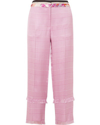 Pantalon carotte à carreaux rose