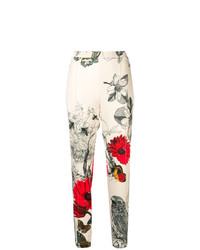 Pantalon carotte à fleurs blanc Moncler