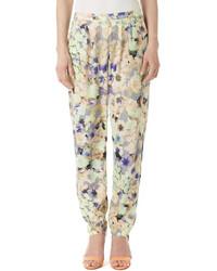 Pantalon carotte à fleurs bleu clair