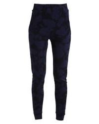 Pantalon carotte à fleurs bleu marine 2ndOne