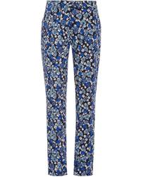 Pantalon carotte à fleurs bleu
