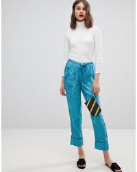 Pantalon carotte à fleurs bleu Vero Moda