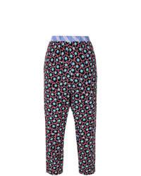 Pantalon carotte à fleurs noir
