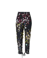 Pantalon carotte à fleurs noir Chloé