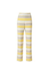 Pantalon carotte à rayures horizontales beige Giorgio Armani Vintage