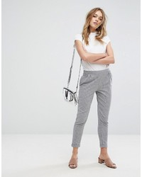 Pantalon carotte à rayures horizontales gris Pull&Bear