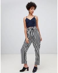 Pantalon carotte à rayures verticales blanc et noir Vero Moda