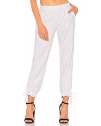 Pantalon carotte à rayures verticales blanc