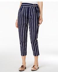 Pantalon carotte à rayures verticales bleu marine