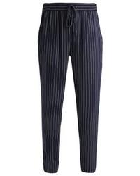 Pantalon carotte à rayures verticales bleu marine Even&Odd