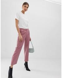 Pantalon carotte à rayures verticales rose