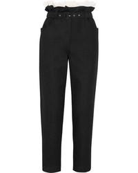 Pantalon carotte à volants noir