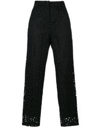 Pantalon carotte brodé noir Moschino