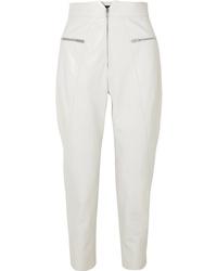 Pantalon carotte en cuir blanc Isabel Marant