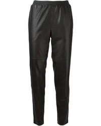 Pantalon carotte en cuir noir