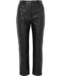 Pantalon carotte en cuir noir Stella McCartney