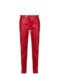 Pantalon carotte en cuir rouge
