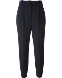 Pantalon carotte en laine bleu marine Alexander McQueen