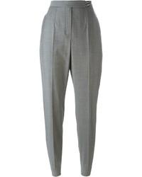 Pantalon carotte en laine gris Lanvin