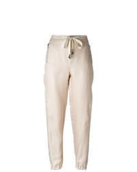 Pantalon carotte en lin beige Ermanno Scervino