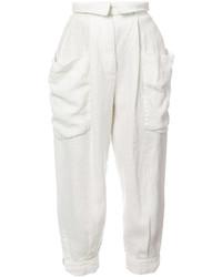 Pantalon carotte en lin blanc OSKLEN