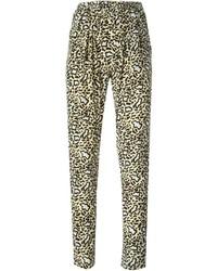 Pantalon carotte imprimé léopard marron clair