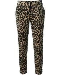 Pantalon carotte imprimé léopard marron clair Etro