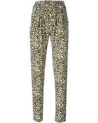 Pantalon carotte imprimé léopard marron clair Stella McCartney