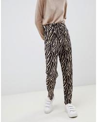 Pantalon carotte imprimé noir ASOS DESIGN