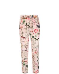Pantalon carotte imprimé rose RED Valentino