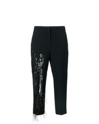 Pantalon carotte orné noir