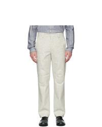 Pantalon chino à carreaux beige