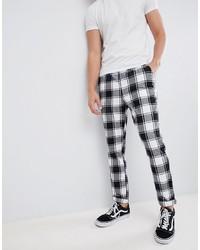 Pantalon chino à carreaux blanc et noir