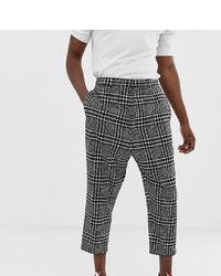 Pantalon chino à carreaux blanc et noir Noak