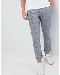 Pantalon chino à carreaux bleu clair