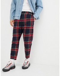 Pantalon chino à carreaux bordeaux
