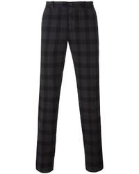 Pantalon chino à carreaux gris foncé