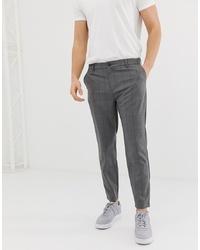 Pantalon chino à carreaux gris foncé Bershka