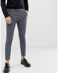 Pantalon chino à carreaux gris foncé Farah Smart