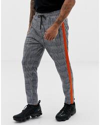 Pantalon chino à carreaux gris foncé Liquor N Poker