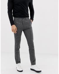 Pantalon chino à carreaux gris foncé New Look