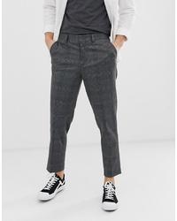 Pantalon chino à carreaux gris foncé Selected Homme