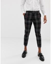 Pantalon chino à carreaux gris foncé Twisted Tailor